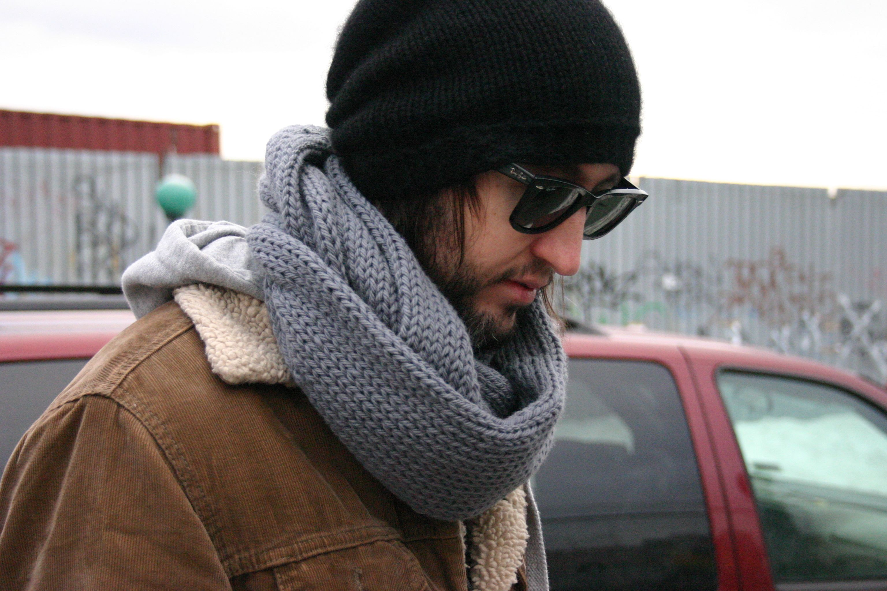 How to knit a wear scarf men pictures
