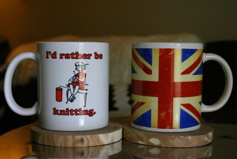 mugs knitting and union jack